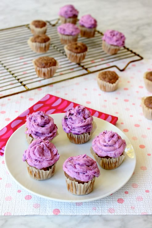 Mini Purple Sweet Potato Cupcakes