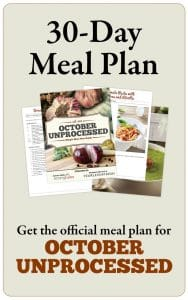 Get the October Unprocessed Simple Meal Plan Guide