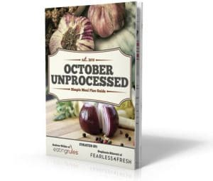 3D Rendering of The October Unprocessed Simple Meal Plan Guide