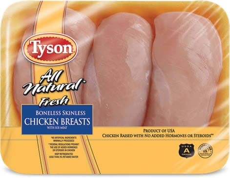 Tyson Chicken Breasts are plumped with salt water and fake flavors