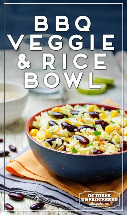 Pinterest-style image of the BBQ Veggie Rice Bowl