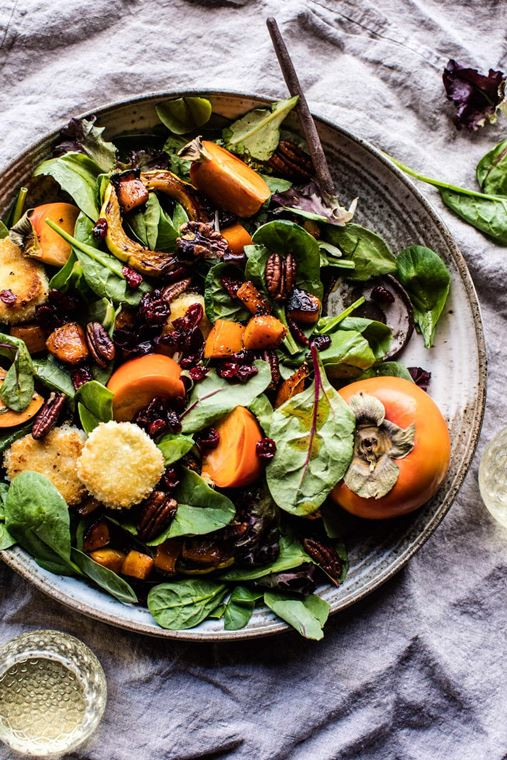 Cranberry Roasted Butternut Persimmon Salad