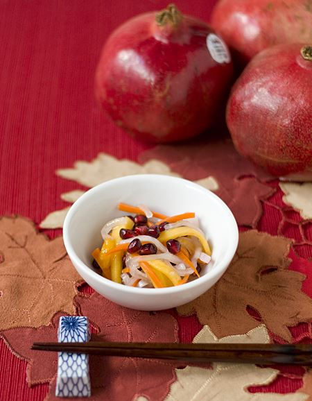 Daikon Carrot Persimmon Pomegranate Sunomono (Slaw)