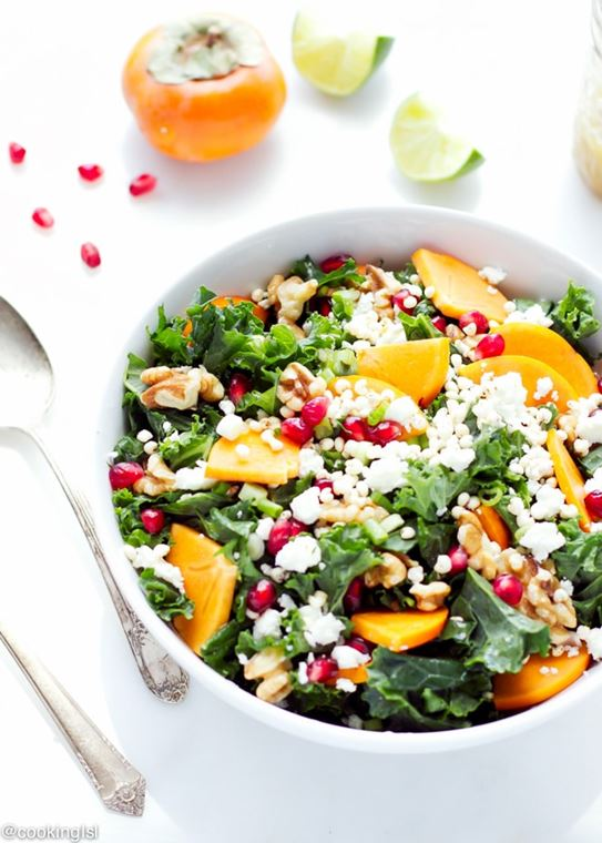 Kale Salad with Persimmon, Walnuts, Pomegranate, and Feta