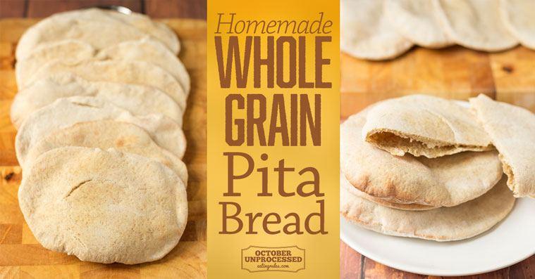 homemade wholegrain pita bread